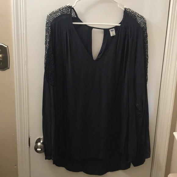 Old Navy Tops Charcoal Gray Blouse Poshmark